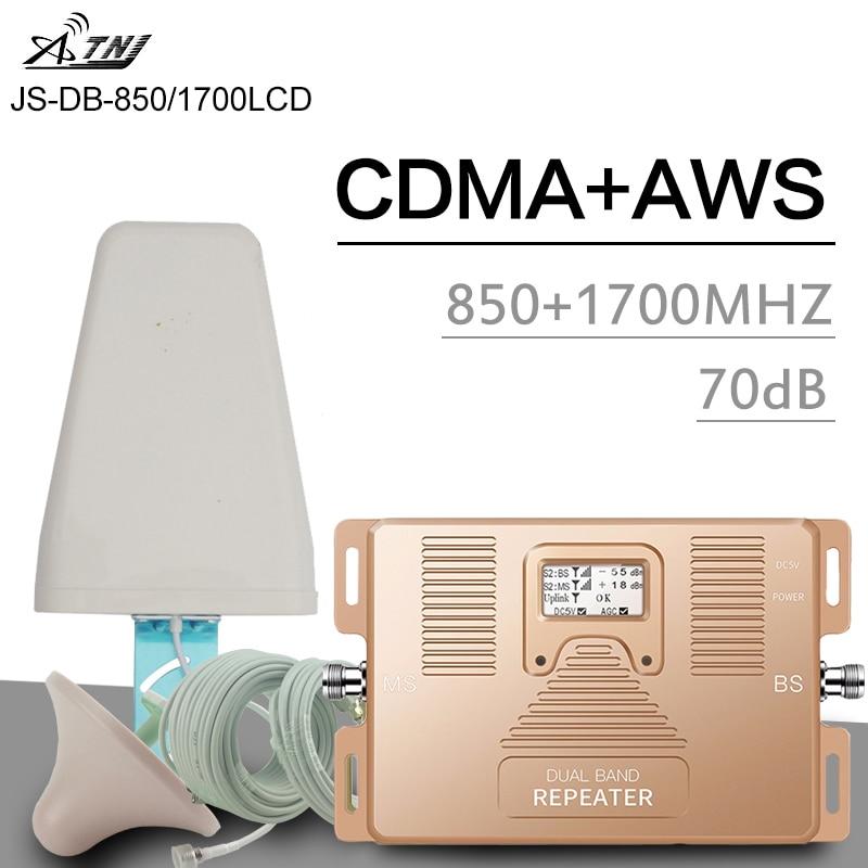 ATNJ 2G 3G CDMA 850 4G AWS 1700 2100 Dual Band Cellular Signal Amplifier 70dB Gain LCD Display 4G LTE Booster 3G Signal Repeater