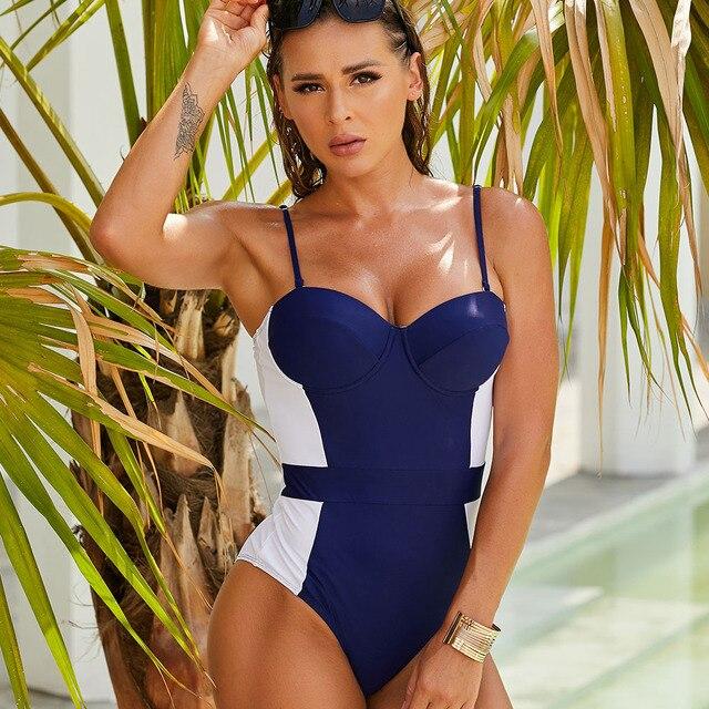 Frauen Badeanzug Push-Up  Blau Verstellbare Riemen Sommer Strand 2