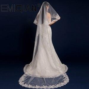 Image 2 - อุปกรณ์จัดงานแต่งงาน,3 เมตรยาวชั้นลูกไม้ผ้าคลุมหน้าเจ้าสาวสีขาวTulle Veils