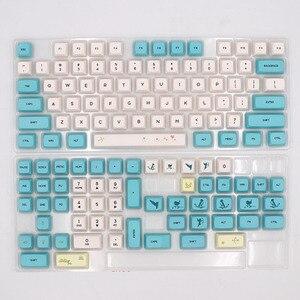 Image 2 - Keypro Chunyang Cyan white Ethermal Dye Sublimation fonts PBT keycap For Wired USB mechanical keyboard 129 keycaps
