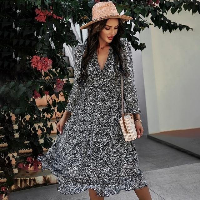 Women V Neck Print Dress Casual Butterfly Sleeve High Waist Dress Ladies Summer Chiffon Dress 3