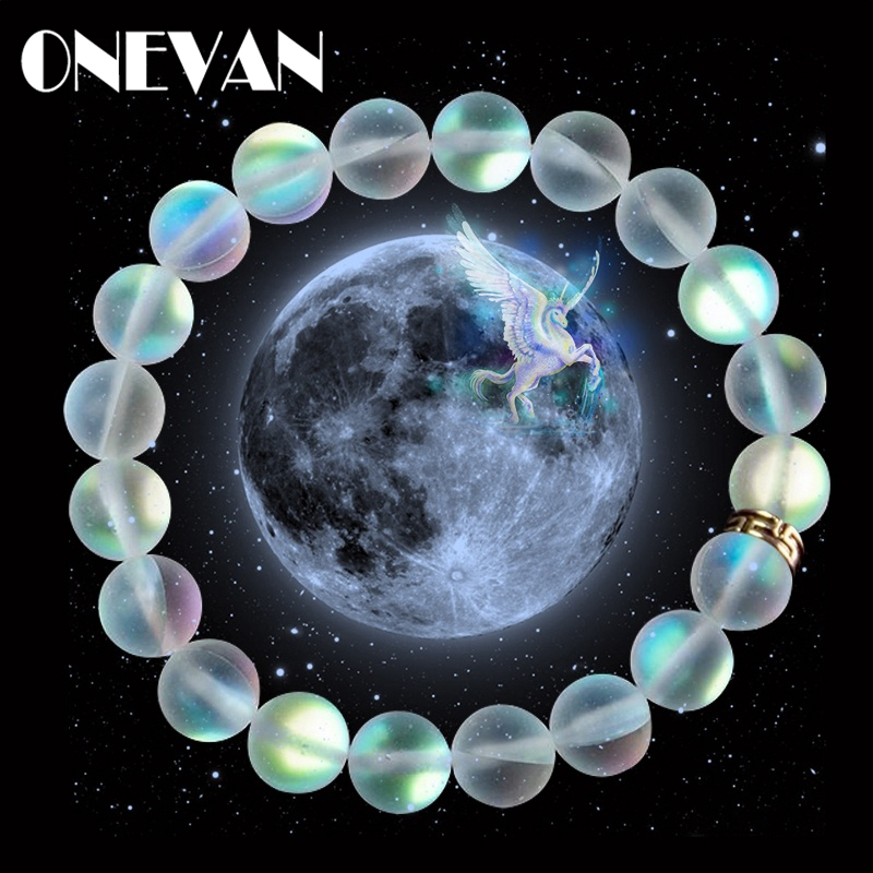 Mermaid Glass Crystal Moonstone Bracelets Multicolor Matte Shining Stone Beaded Charm Bracelet Handmade Wristband Gifts Jewelry