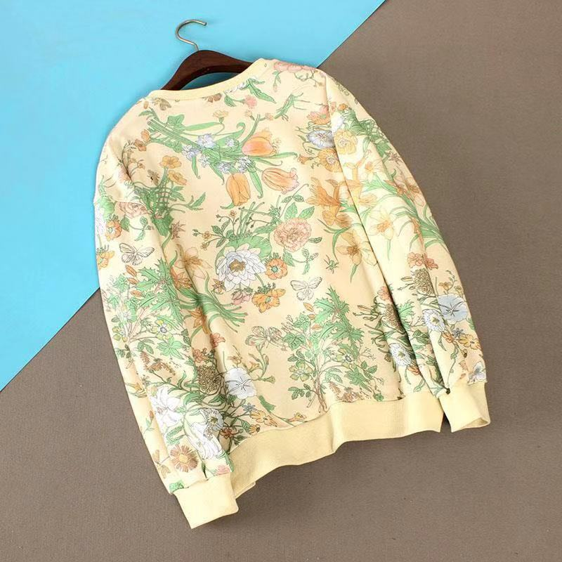 Women's Color Blocking Floral Print Ball Racket Embroidered Sweatshirt Pullover