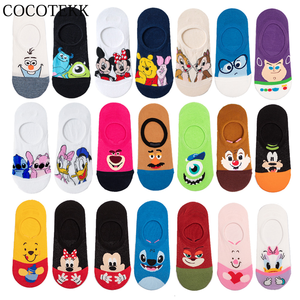 Summer Casual Women Socks Korea Animal Cartoon Duck Mouse Bear Ankle Socks Cute Invisible Silicone Slip Boat Socks Girls Gifts