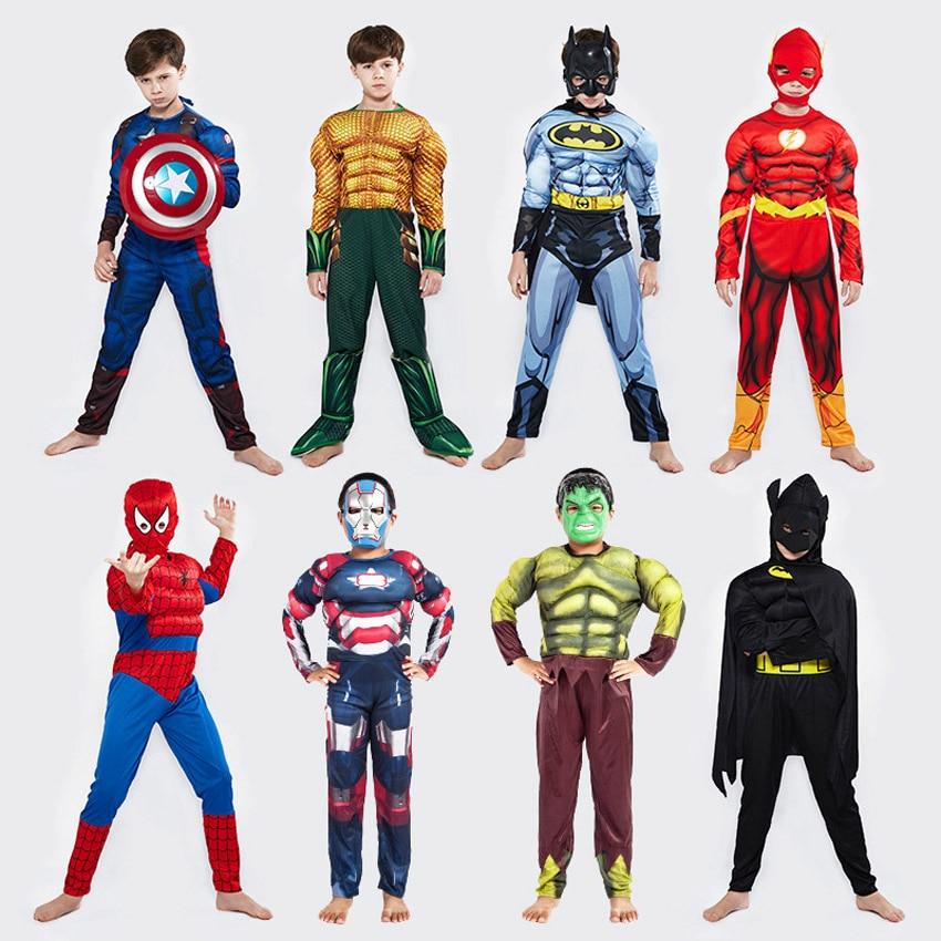 Halloween Unisex Kid Superhero Cosplay Costumes Muscle Jumpsuit Cape Thor Hulk Avengers Iron Man Girl Boy Child Anime Bodysuit