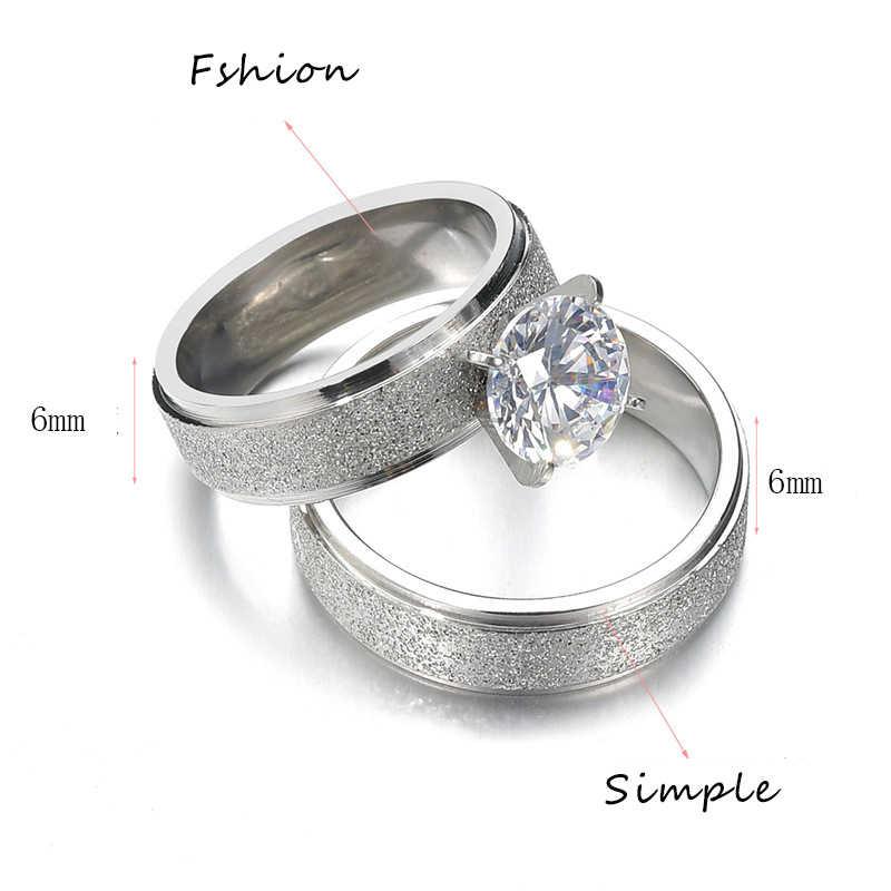 Nuevos anillos de acero inoxidable de circón de lujo para mujeres anillos de boda para hombres anillo de oro Simple joyería anillo de compromiso de mujer Regalos femeninos