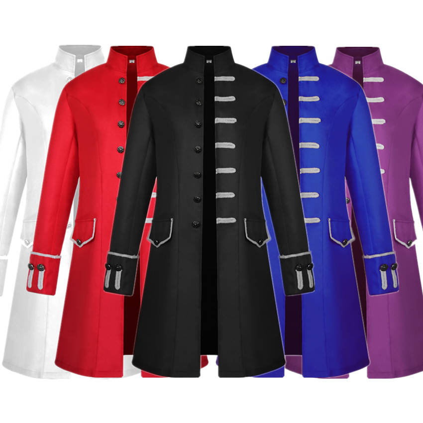 Man Solid Medieval Retro Coat Victoria Steampunk Halloween Cosplay Prince Knight Costume Male Vintage Gothic Style Jacket