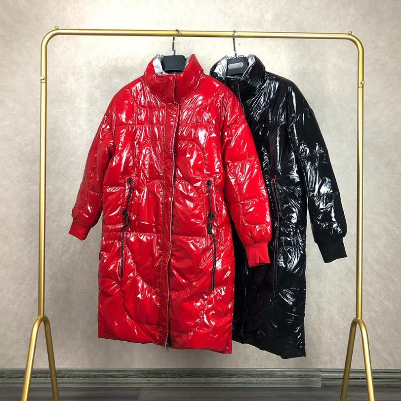 Glossy patent fabric   down     coats   Winter Luxurious quality   down     coat   female stand collar oversize thicker warm   down     coats   F36