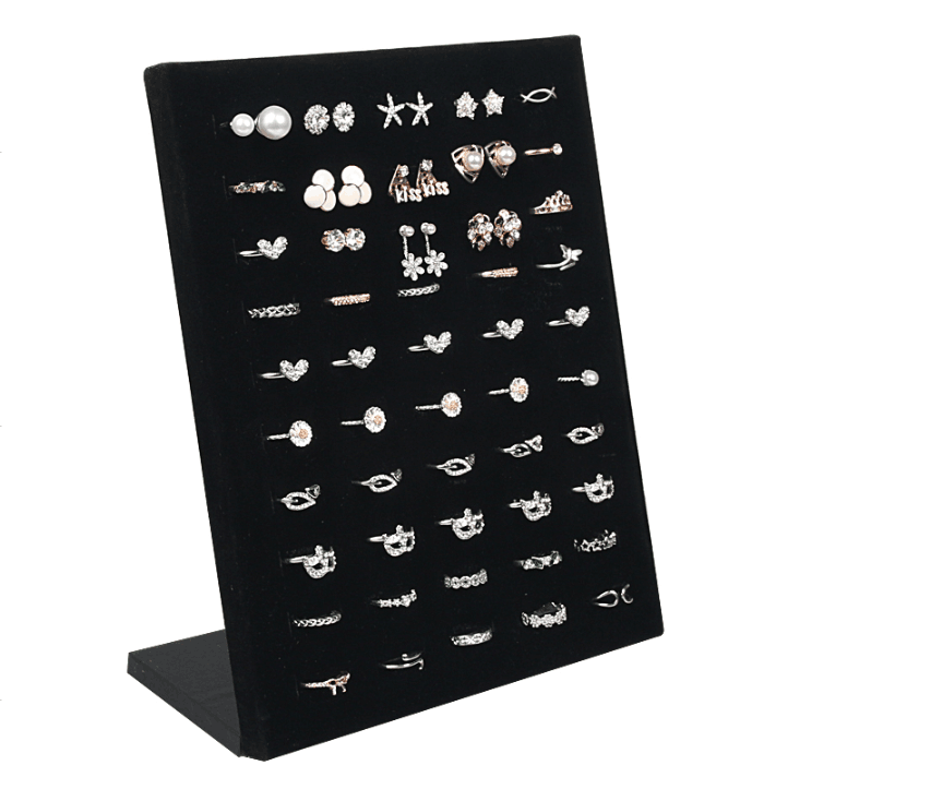 50 Hole Velvet L Shape Wedding Ring Jewelry Holder Display Rack Storage Organizer Jewelry Stud Earring Brooch Pin Showcase Shelf