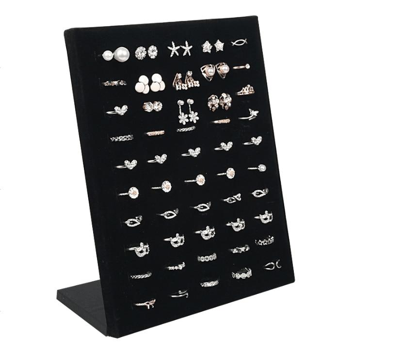 50 Hole Velvet L Shape Wedding Ring Jewelry Holder Display Rack Storage Organizer Jewelry Stud Earring Brooch Pin Showcase Shelf