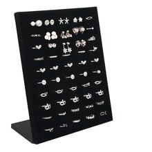 Porta anel de casamento 50 buracos, veludo em forma de l exibição rack organizador de armazenamento jóias brinco broche pin showcase prateleira
