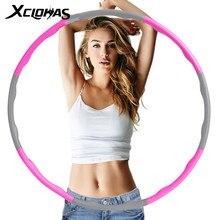 Xc lohas 8 peças esporte hoop destacável weighted fitness instalar massagem exercício musculação cintura fina hoop treino emagrecimento