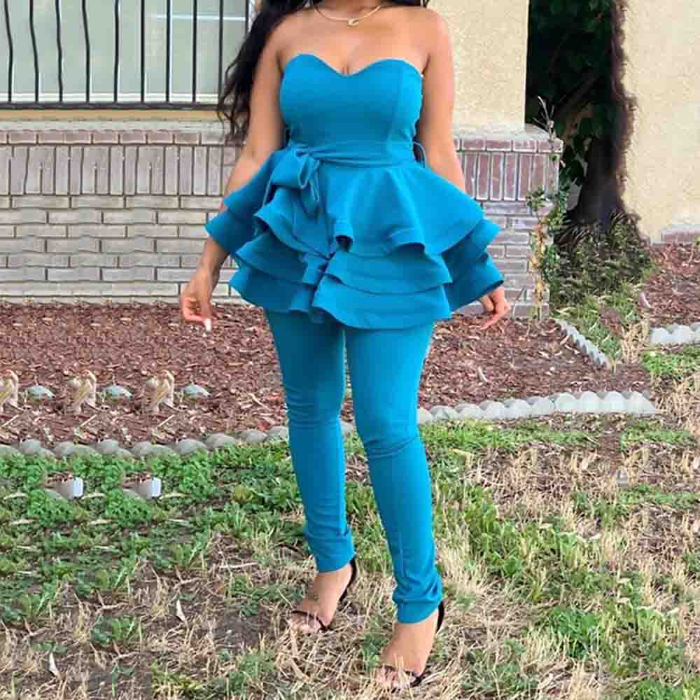 Two Piece Sets Women 2019 Causal Sexy Sleeveless Ruffle Sashes Shirts And Long Pants Set Office Ladies Party Blue 2 Piece Suit
