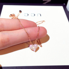 Luxury Bling AAA Zircon Love Heart Shape Necklace High Quality Exquisite Feminia Women Choker Wedding Bridal Jewelry Pendant