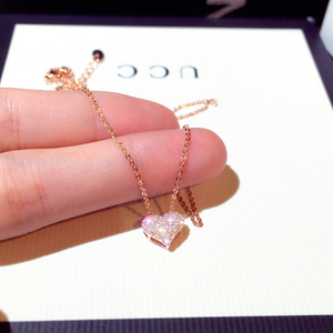 Luxury Bling AAA Zircon Love Heart Shape Necklace High Quality Exquisite Feminia Women Choker Wedding Bridal Jewelry Pendant