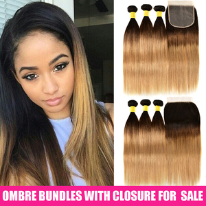 Image 3 - Ombre Straight Hair Bundles With Closure Remy Human Hair Bundles With Lace Closure Ombre Peruvian Hair 3 Bundles With Closure
