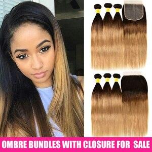 Image 3 - Ombre pacotes de cabelo reto com fechamento remy feixes de cabelo humano com fechamento do laço ombre cabelo peruano 3 pacotes com fechamento