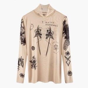 2020 Russia Autumn New Fashion Women Basal Top Goddess Tatoo Print Vintage High Tight Collar Mesh Yarn SEXY T-shirt Tops B666
