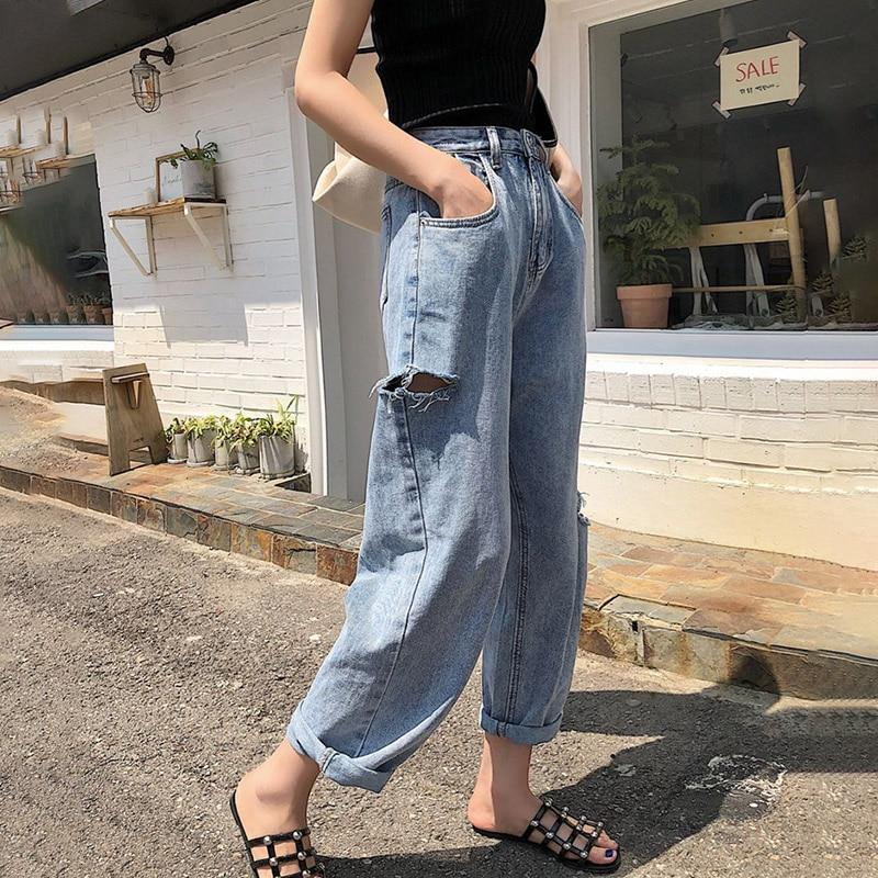 Ripped Straight Jeans Woman Hole High Waist Jeans Boyfriend Trousers Jeans Denim Plus Size Korean Pants Vintage Pocket 2019 V612