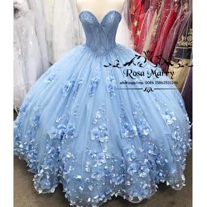 Image 1 - Blue Sweet 16 Quinceanera Dresses 2020 Ball Gown Off Shoulder 3D Flowers Plus Size Cheap Cinderella Debutante Vestidos 15 Anos