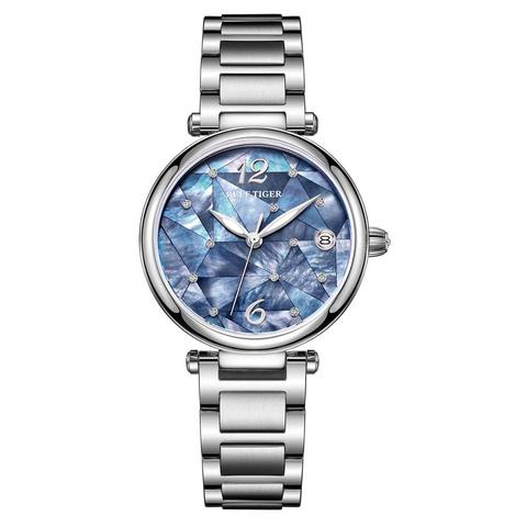 Vestido de Luxo Automático à Prova Reef Tiger Moda Diamante Relógio Pulseira Aço Inoxidável Drágua Rga1584 – rt