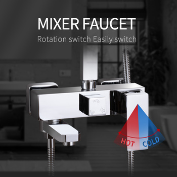 Shower Faucet 3 Functions Shower Mixer.Wall Mounted Bathtub Mixing Valve Faucet Mixer Tap.Bathroom Mixer Tap Chrome Finished