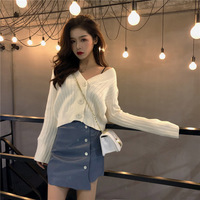Women Korean Single breasted Knit Cardigan White V neck Long sleeved Sweater 2019 Autumn Loose Trumpet Sleeve Short Cardigan