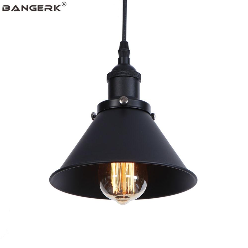 Black Antique Pendant Lamp LED Edison Loft Decor Vintage Hanging Light Dining Room Home Lighting E27 Iron Lampshade Luminaire