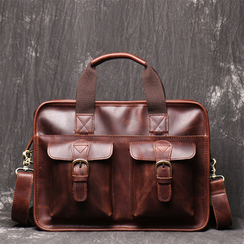 Luxury Men Genuine Leather Briefcase Bag Cow Leather Fashion Office Handbag Laptop Bag Document Case Male Business Bag black genuine leather women handbag business briefcase bag women s 14 inch laptop bags female cow leather diamond lattice bag
