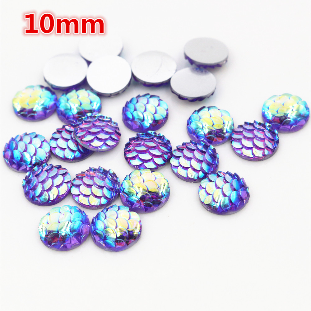 10mm 40pcs/Lot Purple AB Colors Fish Scales Style Flat Back Resin Cabochons For Bracelet Earrings Accessories-O2-18