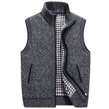 Laamei мужской зимний шерстяной свитер, жилет Мужской без рукавов Вязанный жилет куртка теплый флисовый свитер плюс размер