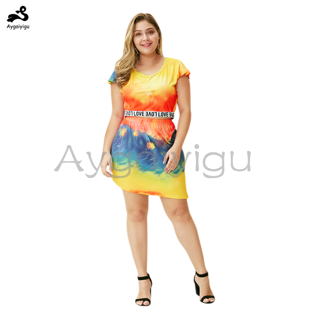 Aygaiyigu 2020 Summer Big Size Women Clothing Plus Size Tie Dye Letter Printed Slit Suits O-neck Casual 2 Pcs Sets (Top + Skirt)