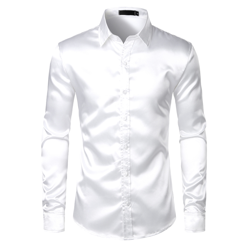 Hc092ea45af72428b922257d02e6d3e76s Men's Black Satin Luxury Dress Shirts 2020 Silk Smooth Men Tuxedo Shirt Slim Fit Wedding Party Prom Casual Shirt Chemise Homme