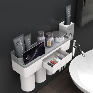 Image 5 - Toothbrush holder bathroom accessories toothpaste storage organizer glass for toothbrushes shelf magnetic adsorption With cup