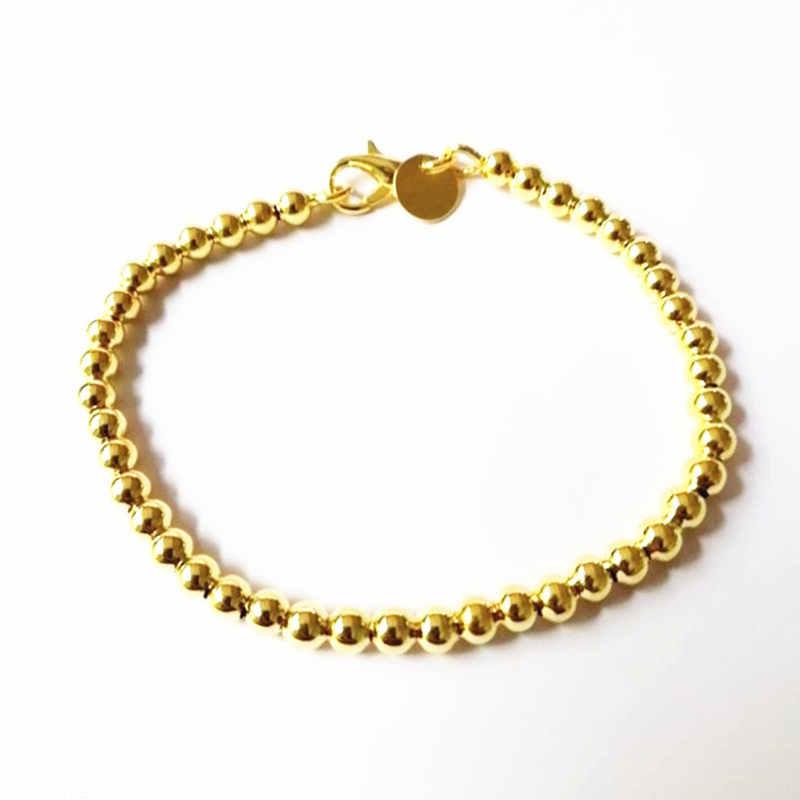 Bela moda elegante cor de ouro cor prata 4mm contas corrente mulher carta bonito pulseira alta qualidade lindo jóias h198