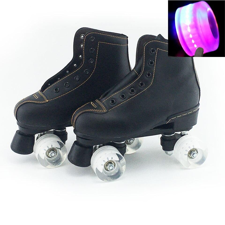 Japy patins à roulettes en cuir artificiel Double ligne patins femmes hommes adulte deux lignes chaussures de patinage Patines avec blanc PU 4 roues - 5