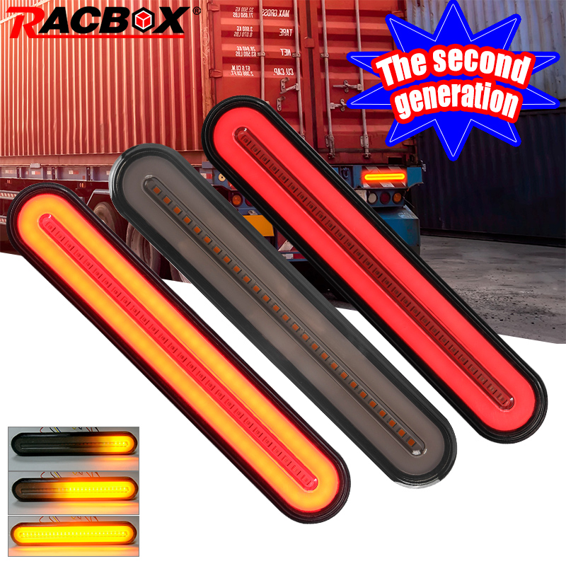 Racbox 2pcs The Second Generation LED Trailer Truck Brake Light 3 In1 Neon Halo Ring Tail Brake Stop Lamp Waterproof Turn Light