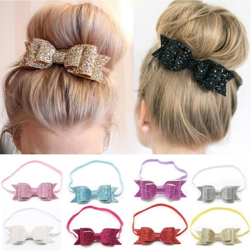 Gold Glitter Powder Cute Kids Baby Girl Bow Elastic Headband Head Wrap Headwear Bow Hair Bands for Women Hair Tie Accessories