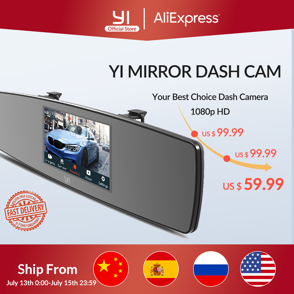 YI Mirror Dash Cam Dual Dashboard Camera Recorder Touch Screen Front Rear View HD Camera G Sensor Night Vision Russian Stock|camera recorder|mirror dash camdash cam dual - AliExpress