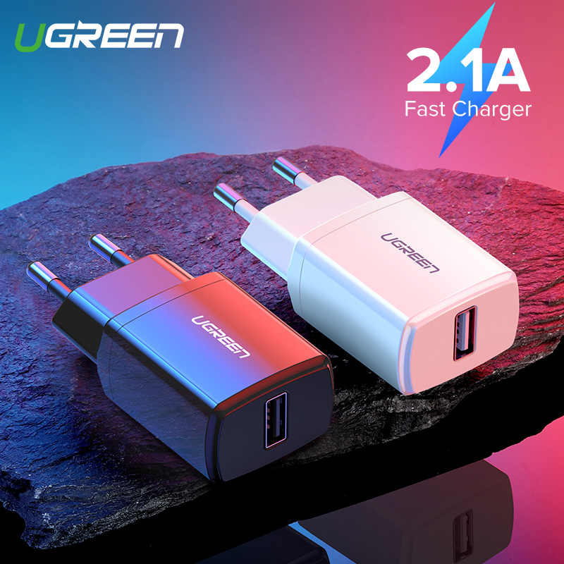 Ugreen 5V 2.1A USB Charger untuk iPhone X 8 7 Ipad Cepat Dinding Charger Adaptor Uni Eropa untuk Samsung S9 xiao Mi Mi 8 Ponsel Charger