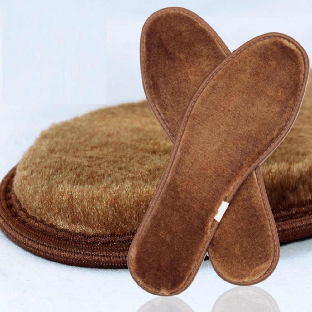 Unisex kalınlaşmış yün tabanlık kış taklit kaşmir koyun derisi kürk ayak tabanlık artı boyutu ısınma ayakkabı tabanlığı sıcak