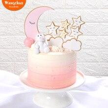 1 Juego de pastel de fiesta de cumpleaños con tema de nubes y Luna y estrellas, decoración de feliz cumpleaños para tarta