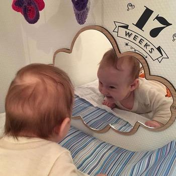 Dzieci Cartoon dekoracyjne wielkie lustro łazienka pokój dziecięcy królik gwiazda drewno akrylowe lustro rama kreatywna ściana artystyczna Decorat tanie i dobre opinie decro62 Z tworzywa sztucznego