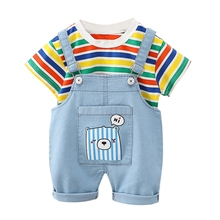 Summer Kids Clothing Sets Of Children's Boys Striped Short-sleeved T-shirt Cute Bear Overalls 2 Pcs Clothing Sets 5 sets of 60 pcs 100