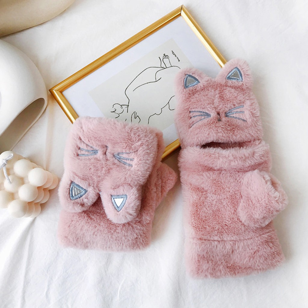 2019 New Cute Cat Shape Plush Flip Gloves Women Fingerless Fashion Casual Warm Autumn And Winter High Quality Gloves Easy Wear