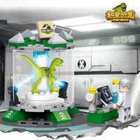 New lepining Jurassic World laboratory Blocks Dinosaur dinausore Park Set Building Kits Blocks Raptor Model Bricks Toy Gift