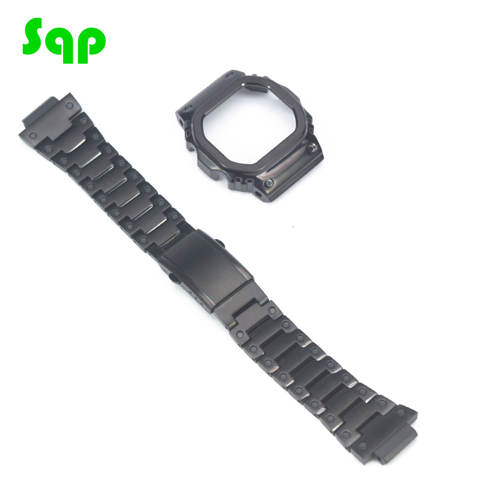 DW5600/5610 Cool Black Upgrade Watch Set Modification Watchband Bezel/Case Stainless Steel Strap