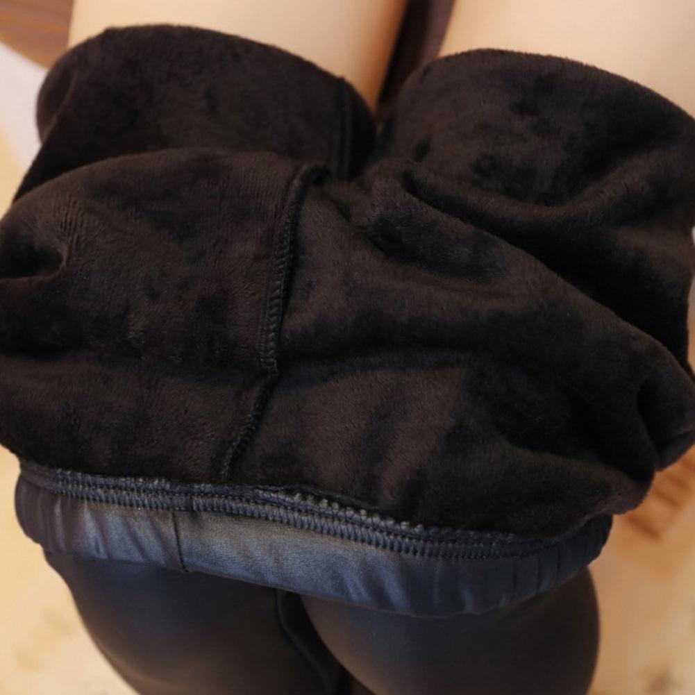 2019 Autumn Winter High Waist Women Thicken Fleece Winter Stretchy Leggings Warm Fleece Slim Thermal Pants Faux Leather Leggings