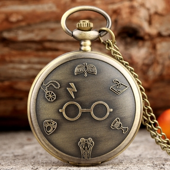 Retro Bronze Harajuku Harry Lightning Glasses Quartz Pocket Watch Necklace Flash Glasses Graphic Pendant Chain Art Antique Gifts