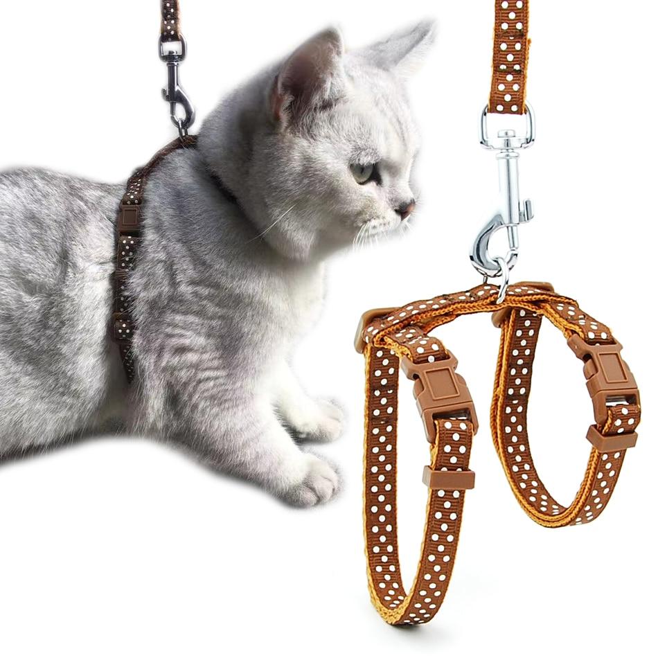 Arnés para gato, Collar de perro, correa ajustable de nailon para mascotas, tracción para gatos, gatos, cuello Halter, productos para gatos, cinturón reflectante para mascotas